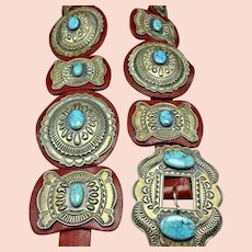 Fabulous Kirk Smith Vintage Navajo Hand-Stamped Sterling Silver TURQUOISE BELT