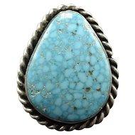 Vintage Navajo Sterling Silver & KINGMAN Waterweb TURQUOISE RING, size 10.5, 21g