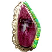 David FREELAND Sterling Silver Purple Spiny Shell & Opal RING sz 7