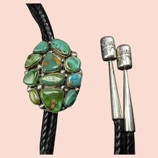 Vintage Navajo Sterling Silver TURQUOISE Cluster Bolo Tie, Hand Stamped Tips