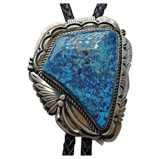 Navajo Sterling Silver & Morenci TURQUOISE Bolo Tie, Leather Cord Sterling Tips