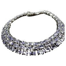 "Sterling Silver 18.50 cts. Light Blue TANZANITE Tennis Bracelet Signed OTC 7.25"""