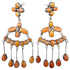 Navajo Sterling Silver & ORANGE Spiny Oyster Shell CHANDELIER Cluster EARRINGS
