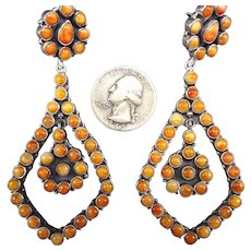 "3.5"" Long Navajo Sterling Silver & ORANGE Spiny Oyster Shell Cluster EARRINGS"