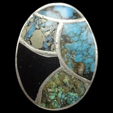 Heavy Vintage Navajo Sterling Silver JET & TURQUOISE Inlay Signet RING size 9.75