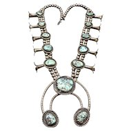 HUGE Vintage NAVAJO Sterling Silver & Turquoise SQUASH BLOSSOM Necklace 318g