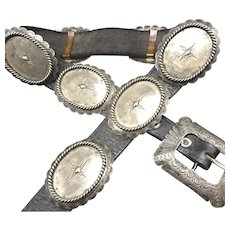 Heavy Vintage Navajo Hand Stamped Sterling Silver CONCHO BELT 326g