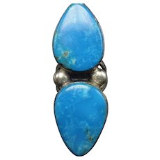 Heavy Vintage Navajo Sterling Silver & Blue TURQUOISE RING, size 8, 16.6g