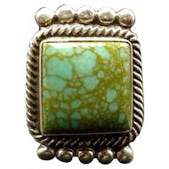 Vintage Navajo Sterling Silver & ROYSTON Webbed TURQUOISE Ring, size 9.75, 19.9g