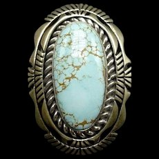 Signed Vintage Navajo Sterling Silver & DRY CREEK TURQUOISE Ring, size 8, 16.9g