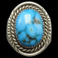 Vintage Navajo Sterling Silver & BISBEE TURQUOISE Signet RING, size 11.25, 17.2g