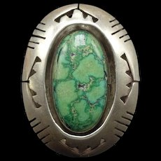 Vintage Navajo Sterling Silver & Carico Lake TURQUOISE Shadowbox RING, size 7