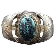 Vintage Navajo Hand Stamped Sterling Silver & Blue TURQUOISE Cuff BRACELET 46.5g