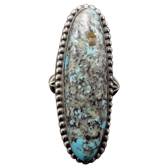 Signed Navajo Stamped Sterling Silver & TURQUOISE Ring, size 6.5, Long & Elegant