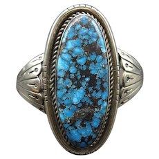 Fine Vintage Hopi Sterling Silver & INDIAN MOUNTAIN Turquoise Cuff BRACELET 58g