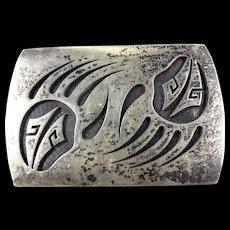 LOREN PHILLIPS Vintage Hopi Heavy Sterling Silver Overlay Bear Paw Belt Buckle