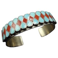 Vintage SIMPLICIO Sterling Silver Coral TURQUOISE Inlay Cuff Bracelet 27.8g ZUNI