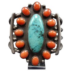 Vintage Navajo Sterling Silver TURQUOISE & CORAL Cluster Cuff BRACELET 64.5g