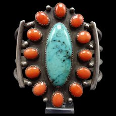 Vintage Navajo Sterling Silver TURQUOISE & CORAL Cluster Cuff BRACELET 64.5g