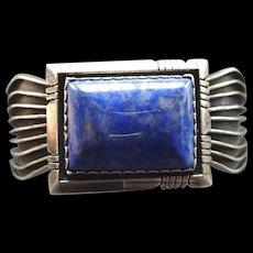 Vintage Navajo Heavy Gauge Sterling Silver & Blue SODALITE Cuff BRACELET, 52g