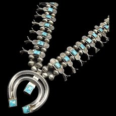 Vintage Navajo Sterling Silver Square TURQUOISE Box Bow SQUASH BLOSSOM Necklace