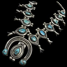 Heavy Vintage Navajo Sterling Silver & Turquoise SQUASH BLOSSOM Necklace 335g