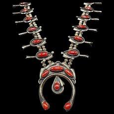 SPECTACULAR Vintage Navajo Sterling Silver & Coral SQUASH BLOSSOM Necklace 242g