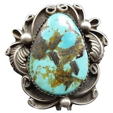 Big 19g Vintage Navajo Sterling Silver & TURQUOISE RING, size 9