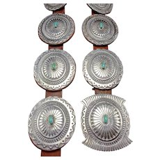 Heavy Signed Vintage Navajo Hand Stamped Sterling Silver & TURQUOISE Concho BELT