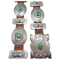Vintage Navajo Hand Stamped & Repousse Sterling Silver & TURQUOISE Concho BELT