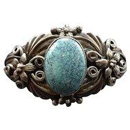 Vintage Carol FELLEY Southwestern Sterling Silver Turquoise Cuff BRACELET 32.3g