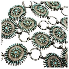 Vintage Zuni Sterling Silver & TURQUOISE Needlepoint CONCHO Belt Links