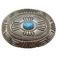 Signed Vintage Navajo Hand Stamped Sterling Silver & TURQUOISE BELT BUCKLE