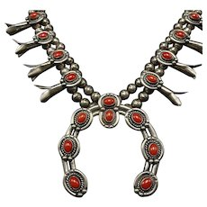 Classic Vintage Navajo Sterling Silver & Coral SQUASH BLOSSOM Necklace 175g
