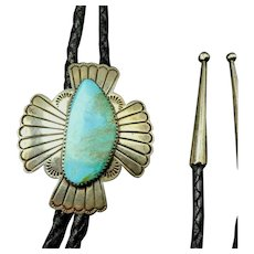 Vintage Navajo Hand-Stamped Sterling Silver TURQUOISE BOLO, Black Leather Cord