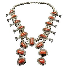 Vintage Navajo Sterling Silver & Natural BRANCH Coral Squash Blossom NECKLACE