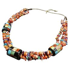 Torevia Crespin Kewa Santo Domingo Pueblo Spiny OYSTER SHELL Necklace Inlay Bead