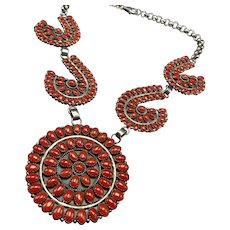 GORGEOUS Bea Tom Navajo Sterling Silver Red Coral Petit Point Cluster NECKLACE