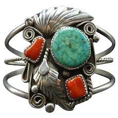 ELEGANT Vintage Navajo Sterling Silver CORAL & WATERWEB Turquoise Cuff BRACELET