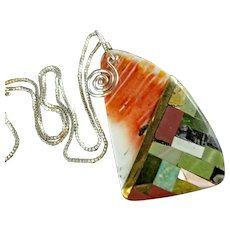 Kewa CONNIE Coriz Multi Stone Inlay Spiny OYSTER Pendant Sterling Chain NECKLACE