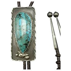 Vintage Navajo Sterling Silver TURQUOISE Bolo Tie, Leather Cord Sterling Tips