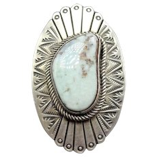 Huge 23g Navajo Hand Stamped Sterling Silver & Dry Creek TURQUOISE RING, size 8