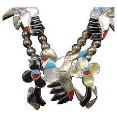 Vintage Zuni Sterling Silver INLAID Gemstone Squash Blossom Necklace HUMMINGBIRD