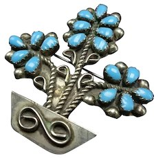 Vintage Navajo Sterling Silver BLUE TURQUOISE Petit Point Pin/Brooch Flower Pot