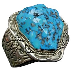 Huge Vintage Navajo Sterling Silver Sleeping Beauty TURQUOISE Cuff BRACELET 171g