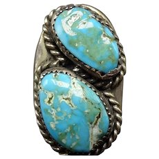 Old & Heavy Vintage NAVAJO Sterling Silver TURQUOISE Man's Ring size 11, 44.9g