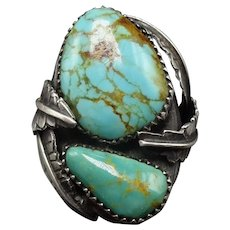 Heavy Vintage Navajo Sterling Silver & TURQUOISE Man's Ring size 11.25, 26.3g