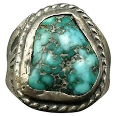 Very Old 1930s Hand-Stamped Coin Silver NAVAJO Natural TURQUOISE Ring size 9.75