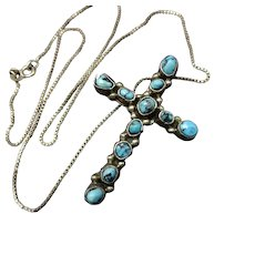 "Vintage Navajo Sterling Silver Turquoise Petit Point Cross PENDANT + 16"" Chain"