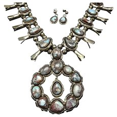 Rare Navajo Sterling Silver BISBEE Turquoise SQUASH BLOSSOM Necklace Earring Set